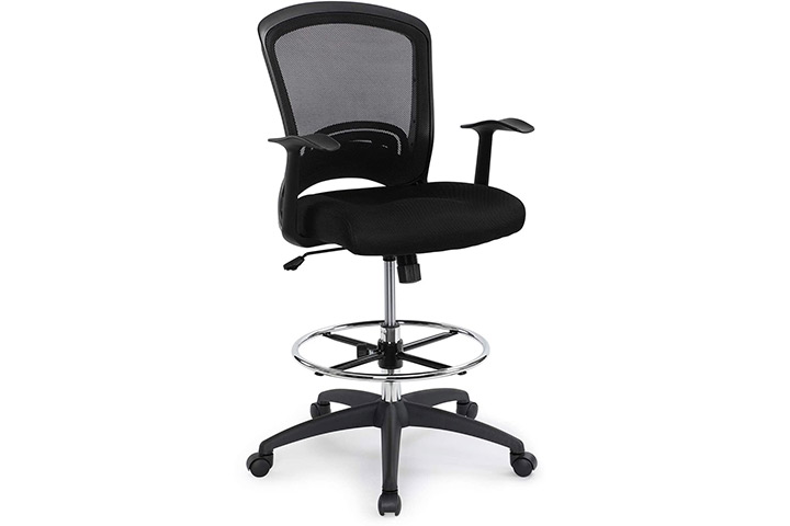 Ergonomic Mid-Back Mesh Adjustable Drafting Chair with Foot Ring