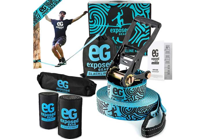 Exposed Gear Slackline Kit with Tree Protectors and Ratchet Cover