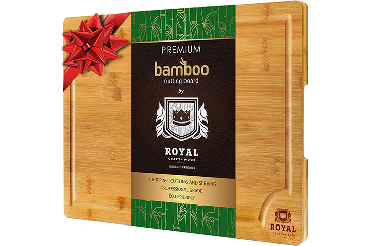 Extra Large Organic Bamboo Cutting Board with Juice Groove
