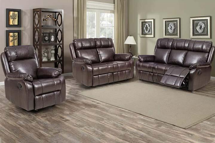 FDW PU Leather Manual Reclining Sofa- Black