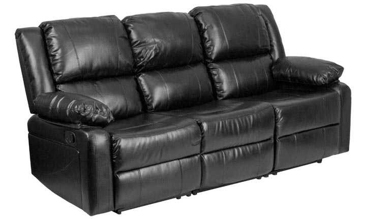 Flash Furniture Harmony Series Leather Sofa With Two Built-In Recliners