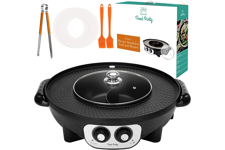 Food Party 2-in-1 Electric Smokeless Grill and Hot Pot