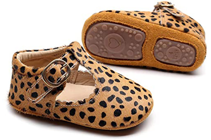 HONGTEYA Leather Leopard Baby Shoes