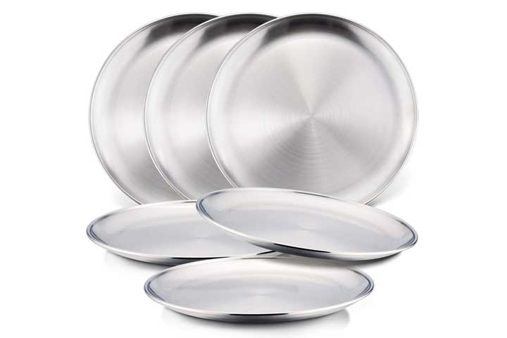 HaWare 6-Piece 188 Stainless Steel Plates, HaWare Metal 304 Dinner Dishes