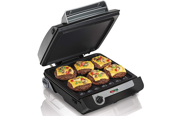 Hamilton Beach 4-in-1 Indoor Grill & Electric Griddle Combo with Bacon Cooker