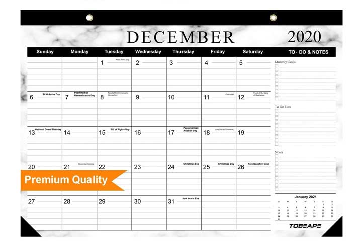 Juvale Calendar Block - Wooden Perpetual Desk Calendar