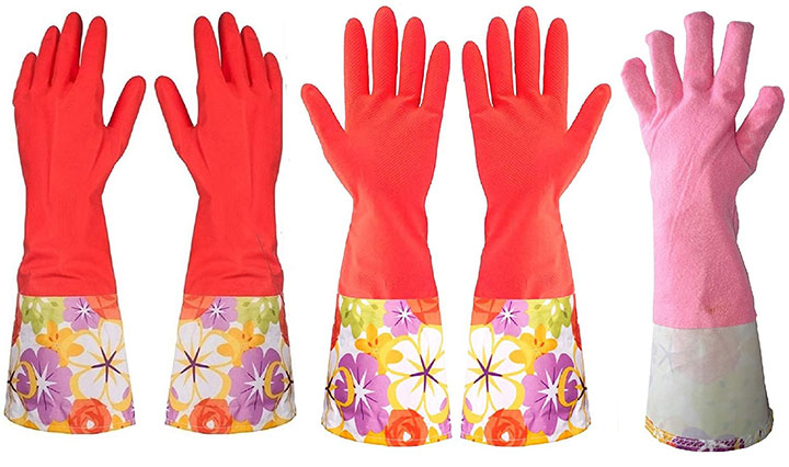 Kitchen Rubber Cleaning Gloves with Warm Lining