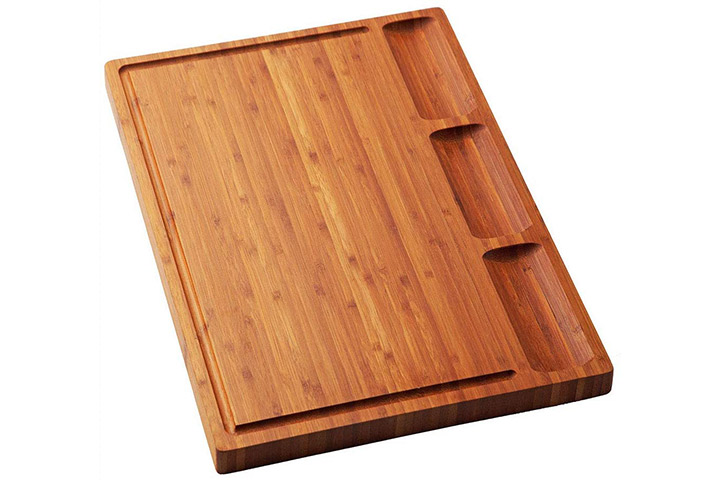 Large Bamboo Wood Cutting Board for Kitchen, Cheese Charcuterie Board Set