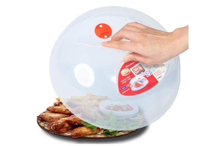 Large Microwave Plate Cover Easy Grip Microwave Splatter Guard Lid
