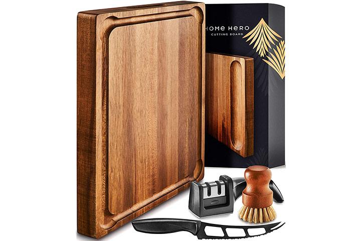 Large Wood Cutting Board with Handle - Butcher Block Cutting Board