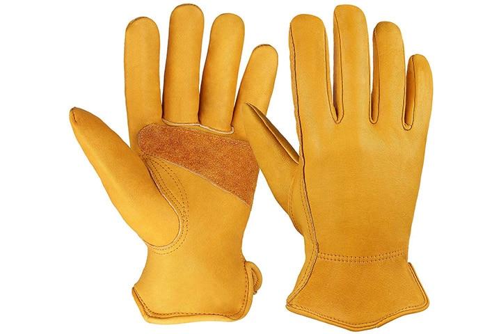 OZERO Flex Grip Leather Work Gloves