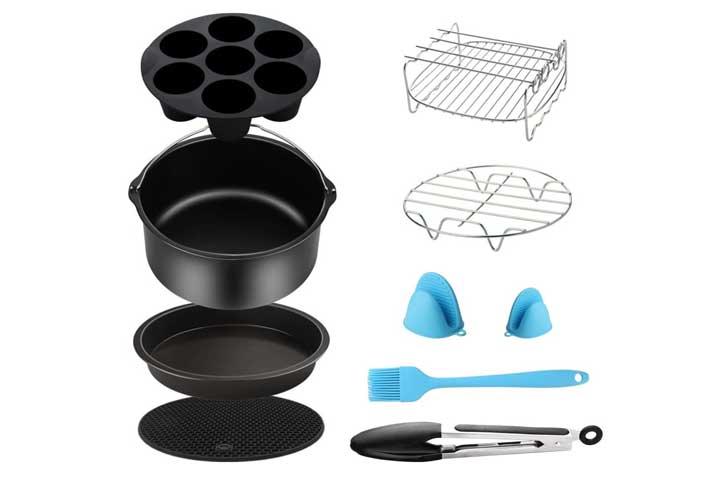 Air Fryer Oven Accessories Set of 6 Fit all 5.3Qt 5.8Qt 6Qt Pan Lid Mat Skewers