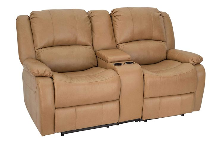 RecPro Charles Faux Leather Double Recliner RV Sofa and Console