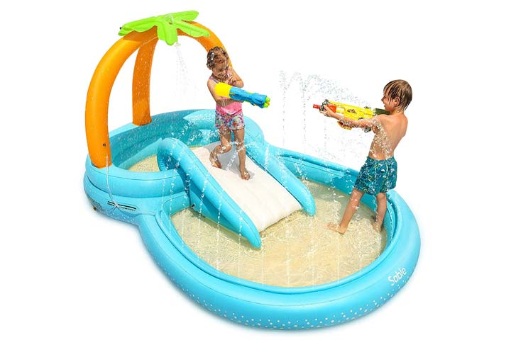 Sable Inflatable Play Center Wading Pool with Slide-1