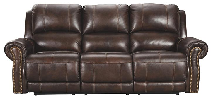 Signature Design By Ashley Power Reclining Sofa with Adjustable Headrest - Chocolate