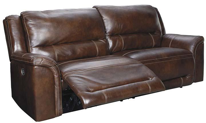 Signature Design by Ashley Catanzaro Power Reclining Sofa wAdjustable Headrest- Mahogany
