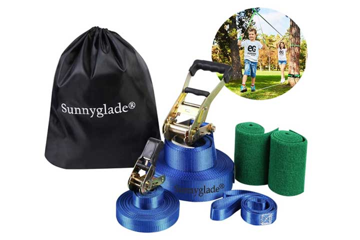 Sunnyglade 50ft Slackline Kit with Training Line