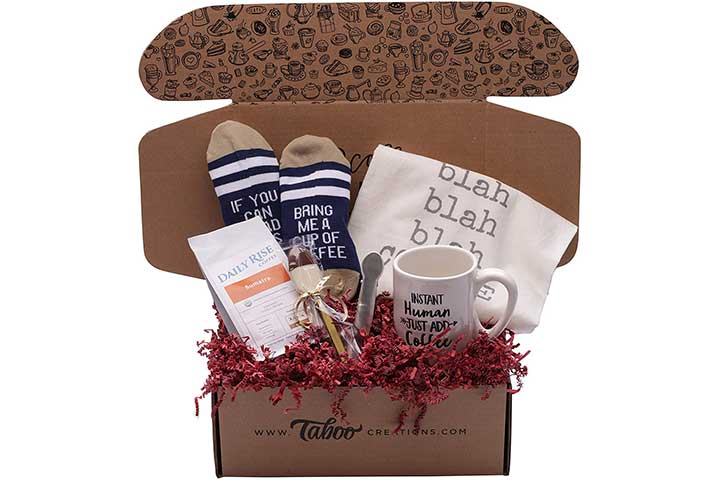 Taboo Creations Coffee Lovers Gift Basket Box