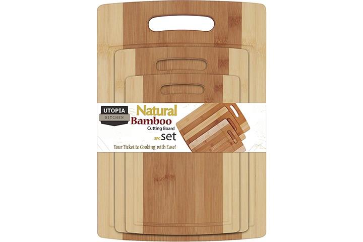 Utopia Kitchen 3 Piece Natural Organic Bamboo Cutting Boards