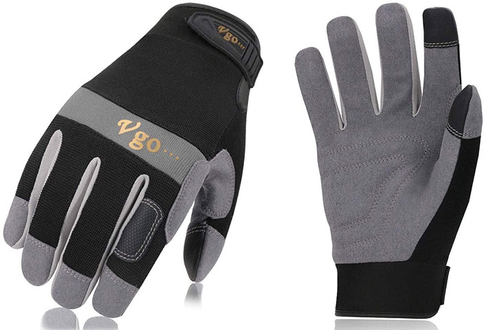 Vgo 3Pairs Synthetic Leather Work Gloves