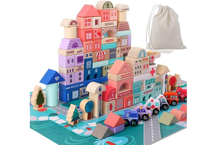 Wooden Building Blocks Set, City Construction Stacker