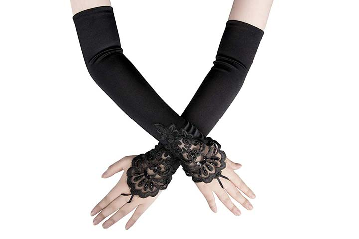 Xuhan Long Satin Gloves for Women