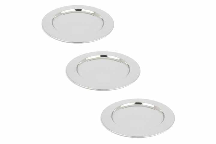 Yamde 3 Pcs Stainless Steel Round Plate Set for Camping Outdoor