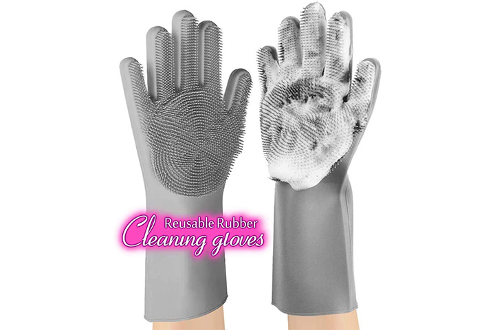 anzoee Reusable Silicone Scrubbing Dishwashing Gloves