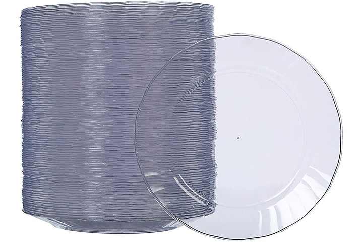 AmazonBasics Disposable Clear Plastic Plates