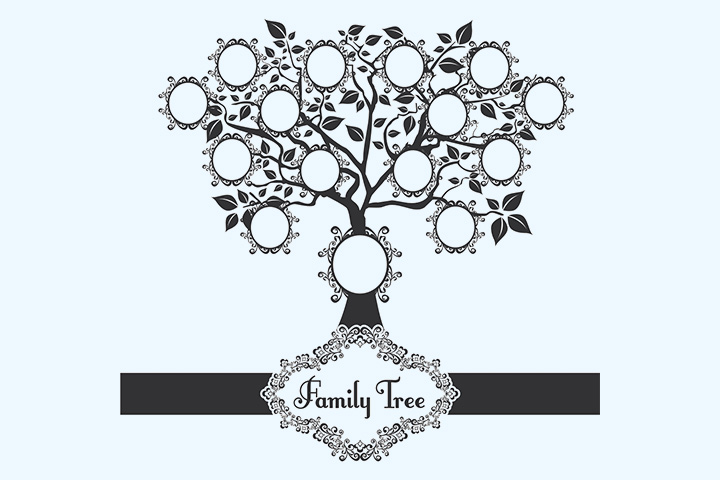 Black and white family tree art