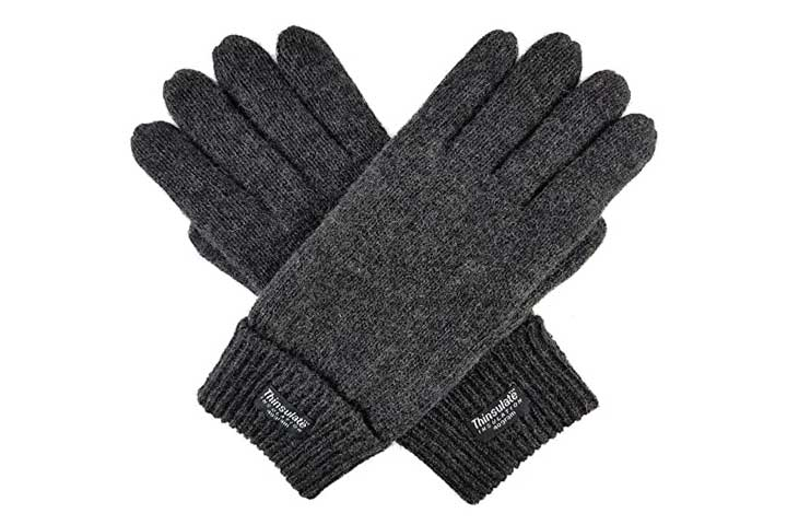 Bruceriver Mens Pure Wool Knitted Gloves