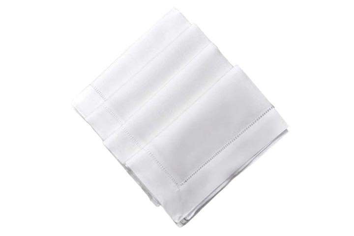 Bumblebee Linens White Linen Hemstitched Dinner Napkins