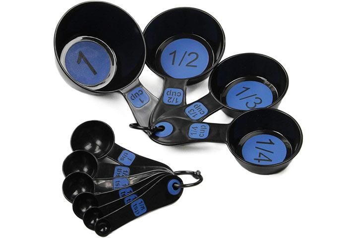 Chef Craft 10 Piece BlueBlack Measuring Cup and Spoon Set