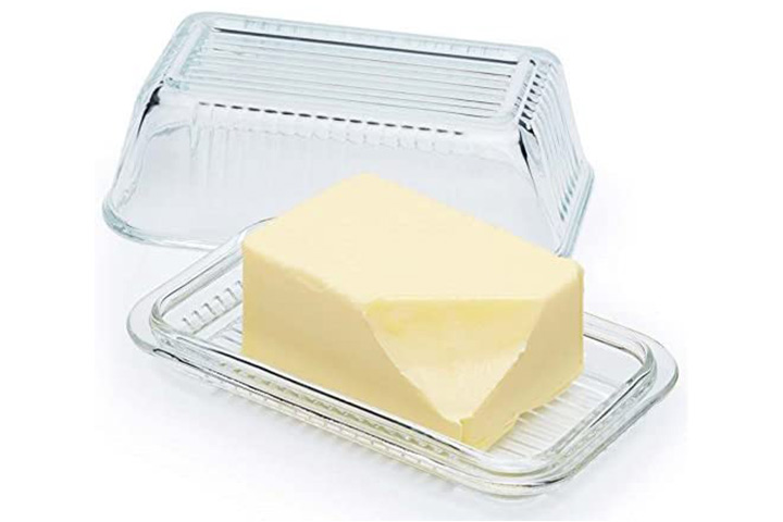 Circleware Farm Glass Butter Dish with Glass Lid