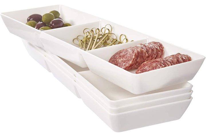 Compartment Plastic Serving Tray by US Acrylic