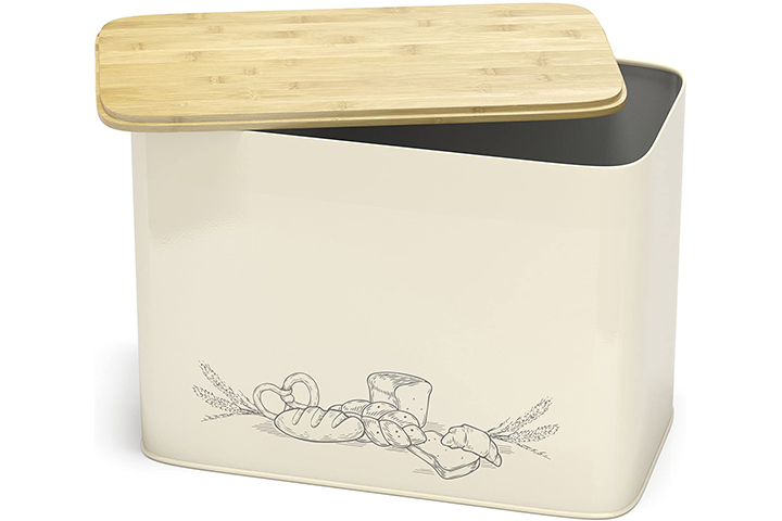 Cooler Kitchen Vertical Bread Box With Eco Bamboo Cutting Board Lid
