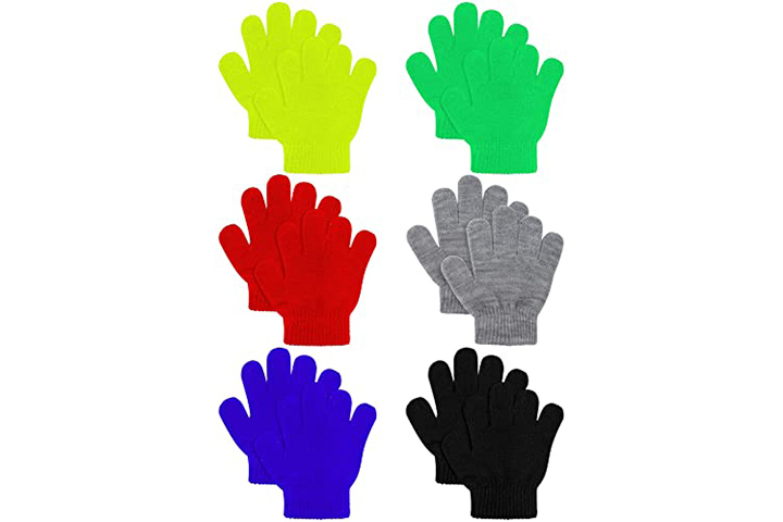 Cooraby 6 Pairs Kids Knitted Magic Gloves