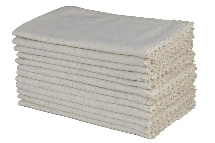 Cotton Craft - 12 Pack Oversized Flax with Lace Dinner Napkins