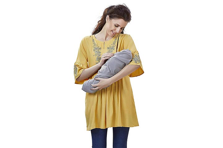 Easyfeed Designer Cotton Embroidery Maternity Nursing Top