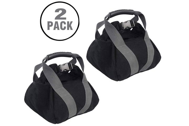 Fnoko 2Pcs Adjustable Canvas-Kettlebell-Sandbag with Handle