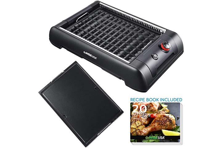 GoWISE USA 2-in-1 Smokeless Indoor Grill and Griddle