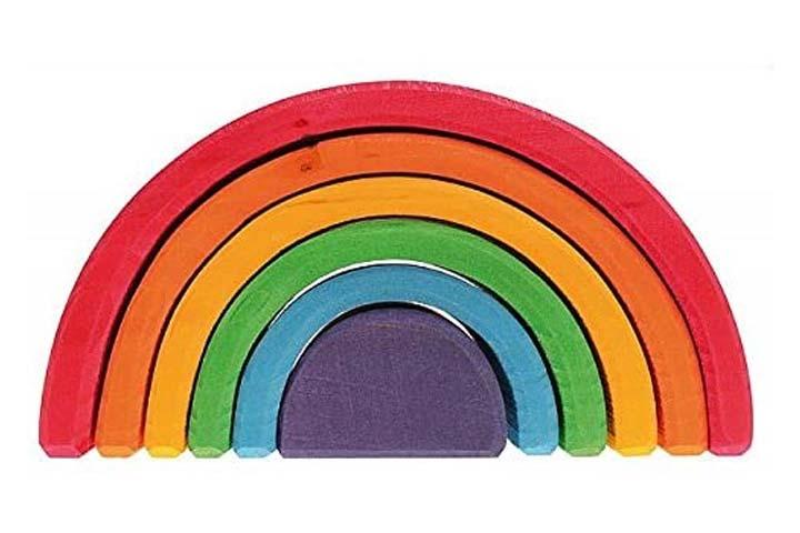 Grimm's 6-Piece Wooden Rainbow Stacker