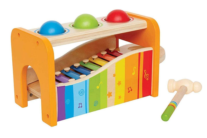 Hape Pound And Tap Bench with Slide Out Xylophone - Yellow