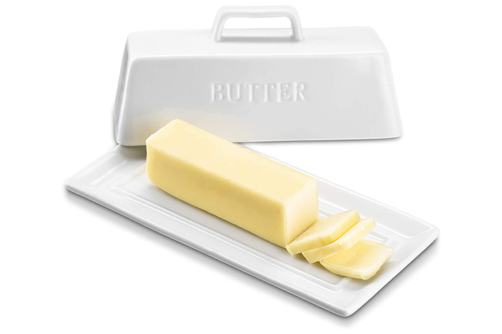 KooK Ceramic Butter Dish with Handle Cover Design