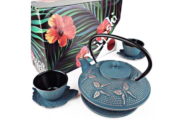 Kyoshi Luxury Blue Butterfly Cast Iron Teapot Set