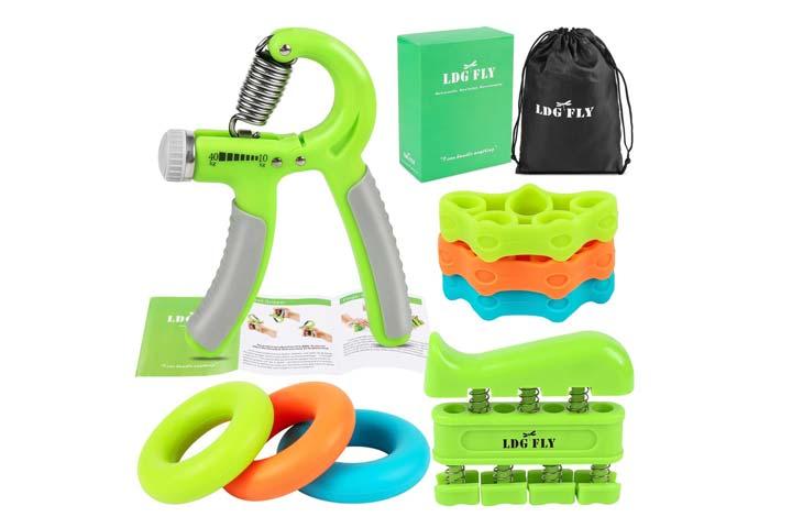 LDGFLY Hand Grip Strengthener Kit with Finger Exerciser