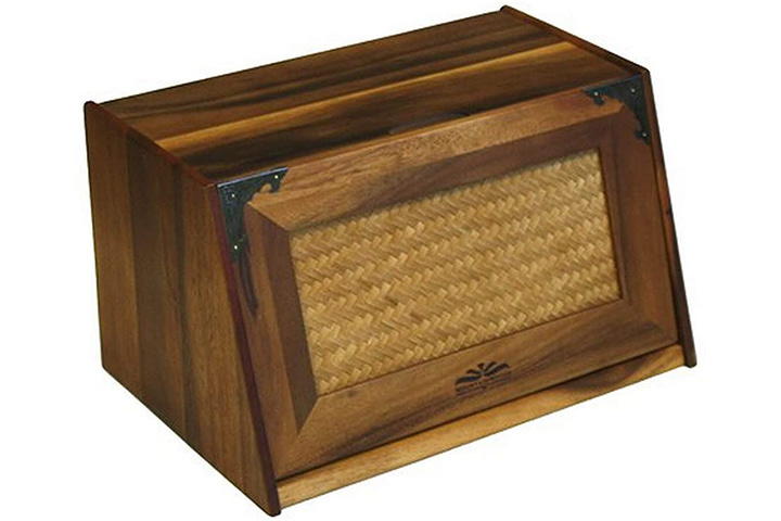 Mountain Woods Extra Large Bread Box With Rattan Lid