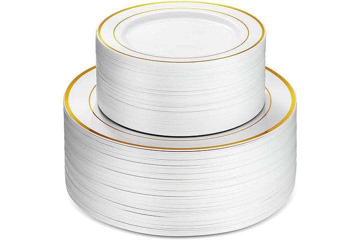 Munfix Piece Plastic Party Plates White Gold Rim