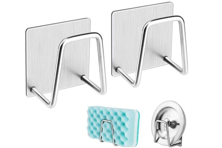 NEXCURIO Adhesive Sponge Holder Sink Caddy for Kitchen Accessories