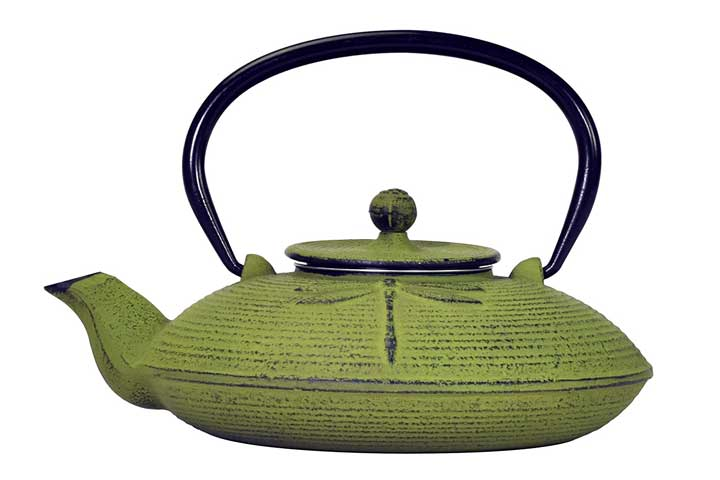 Primula Green Dragonfly Japanese Tetsubin Cast Iron Teapot
